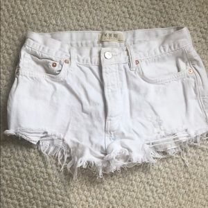 Free people white high waisted shorts size 27
